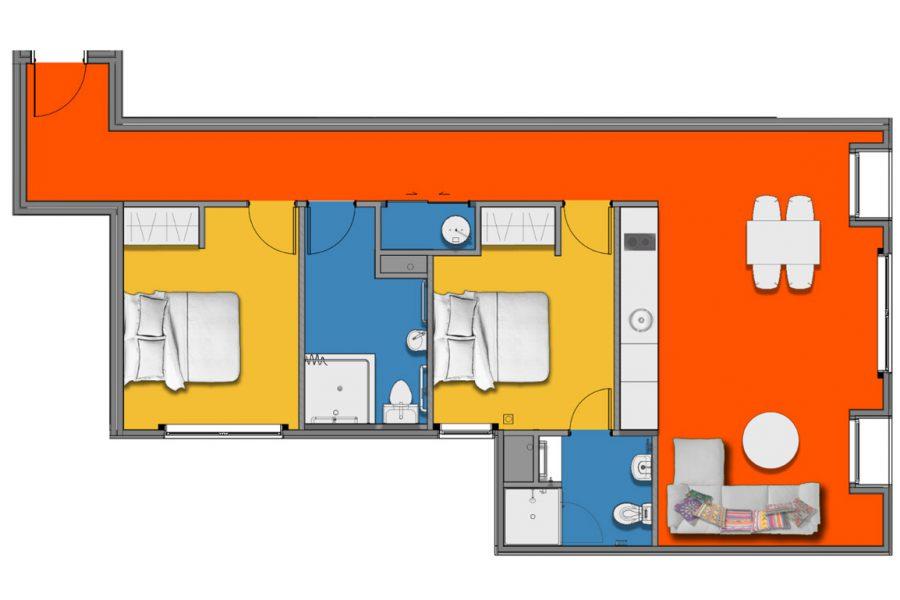 Standard 2 Bedroom & 2 Bathrooms